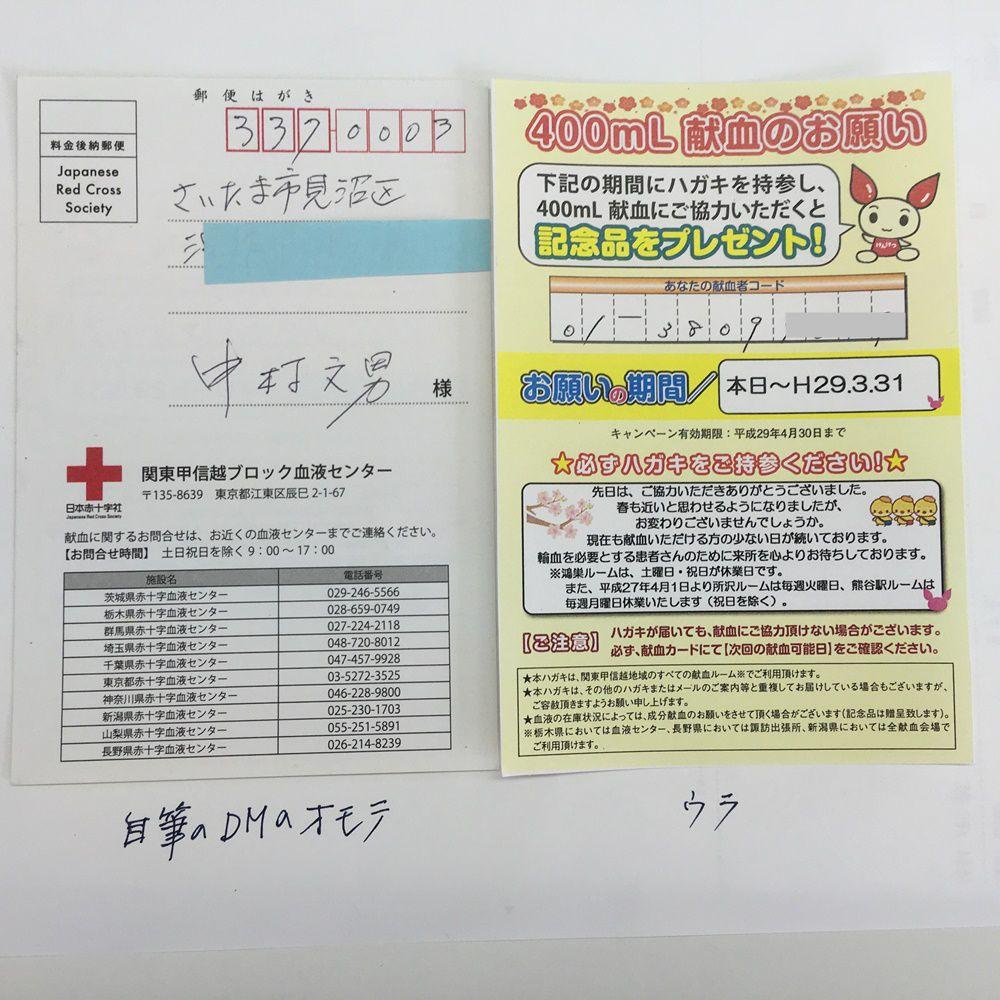 献血DM表・裏